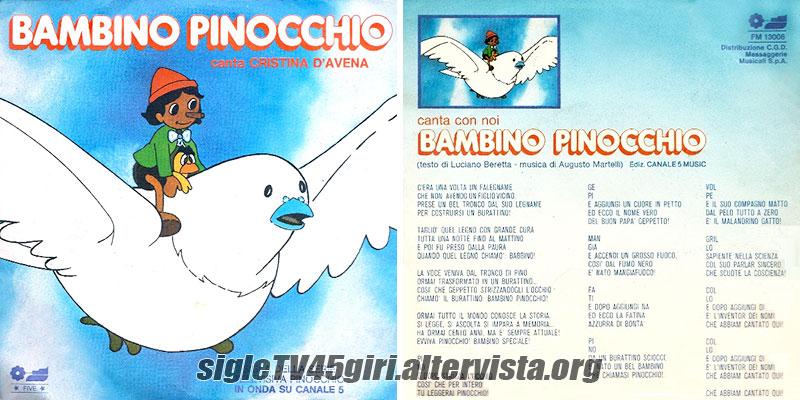 Bambino pinocchio disco vinile giri sigla cartone